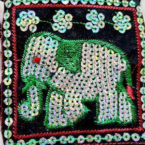 THAILAND BOHO Tiny Sequined Elephant Purse